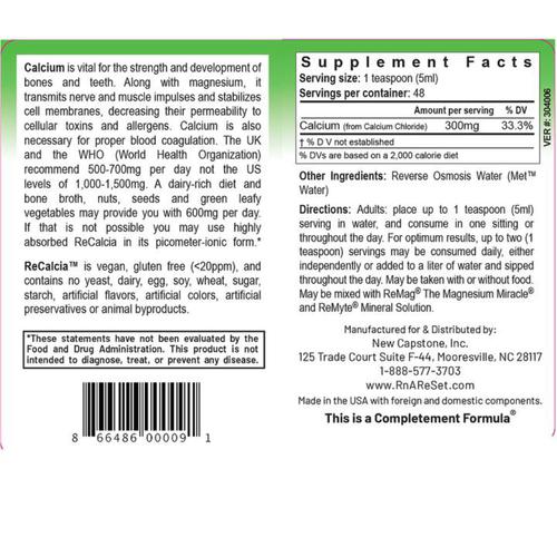 ReCalcia - Calcium-Lösung | Dr. Dean´s piko-ionisches flüssiges Calcium - 240ml